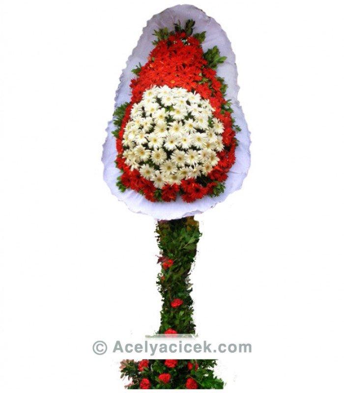 Kırmızı Beyaz Gerbera Ayaklı Sepet