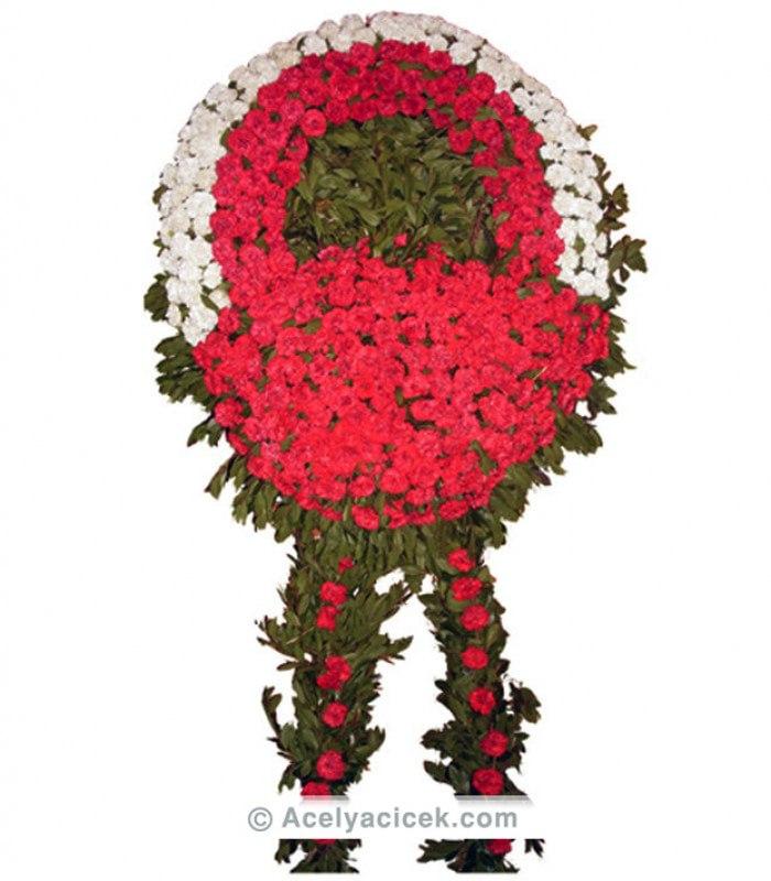 Dolgun Kırmızı Beyaz Cenaze Çelengi