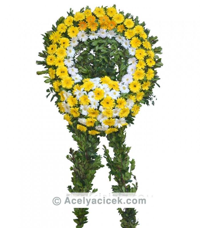 Sarı Beyaz Cenaze Çelengi