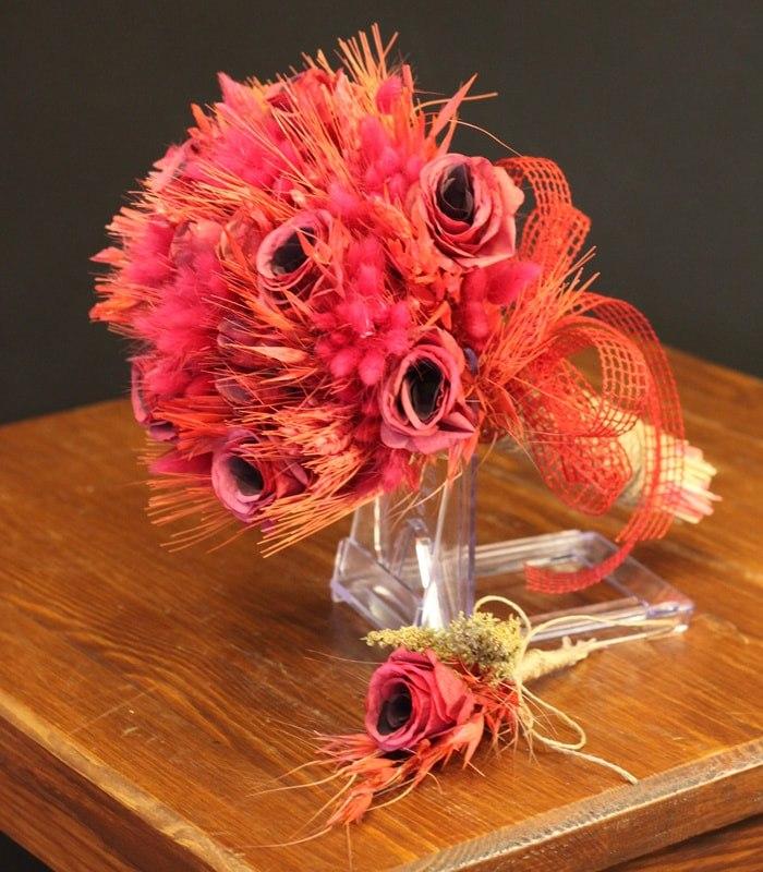 Pastel Kırmızı Yapay Gelin Çiçeği