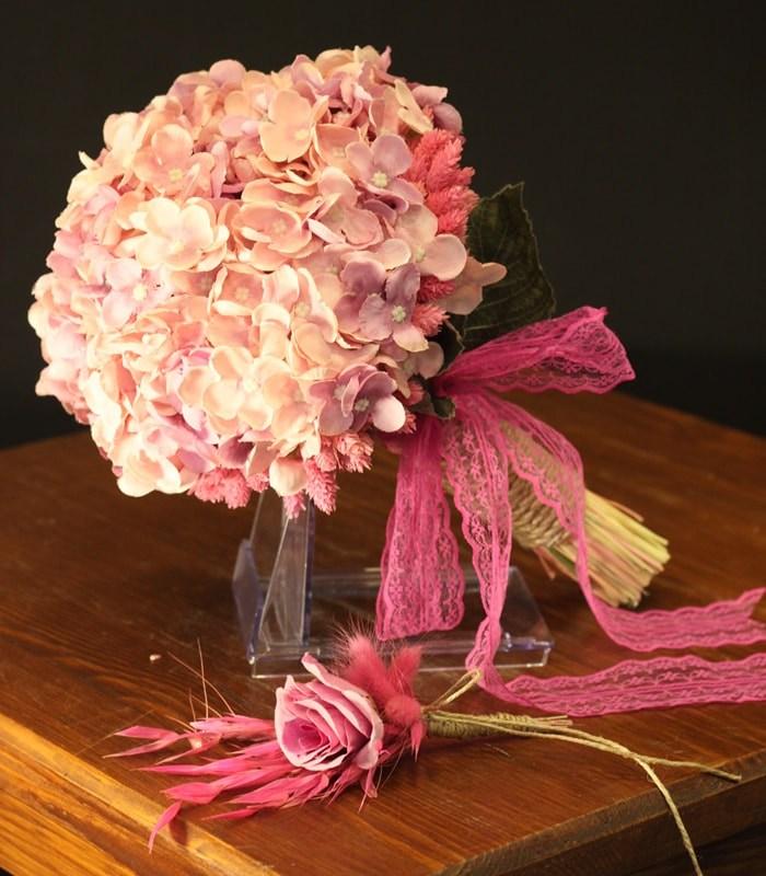 Pembe Ortanca Gelin Çiçeği Buketi