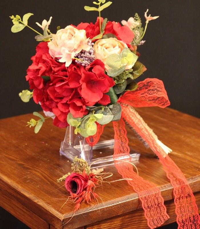 Kırmızı Ortanca Somon Gül Gelin Çiçeği