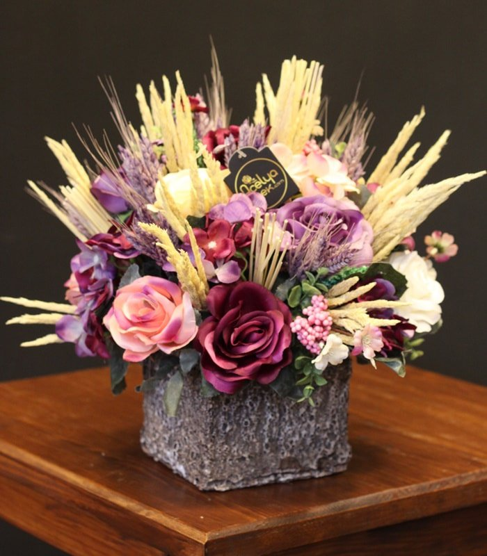 Yapay Çiçek Aranjmanı Mor
