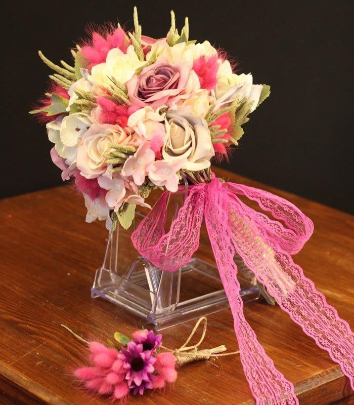 Pembe Mor Beyaz Gelin Çiçeği
