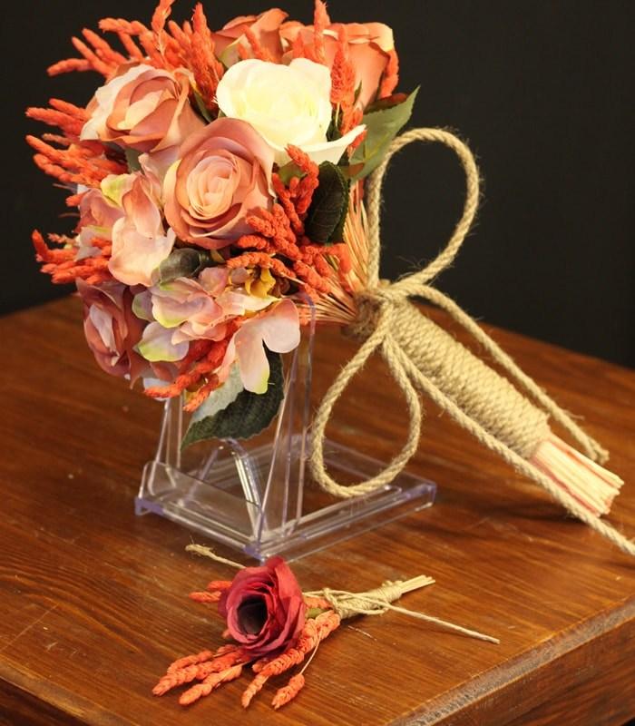 Oranj Beyaz Gül Gelin Çiçeği